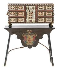 Neapolitan-style walnut chest with tortoiseshell and engraved and stained bone marquetry, 19th century