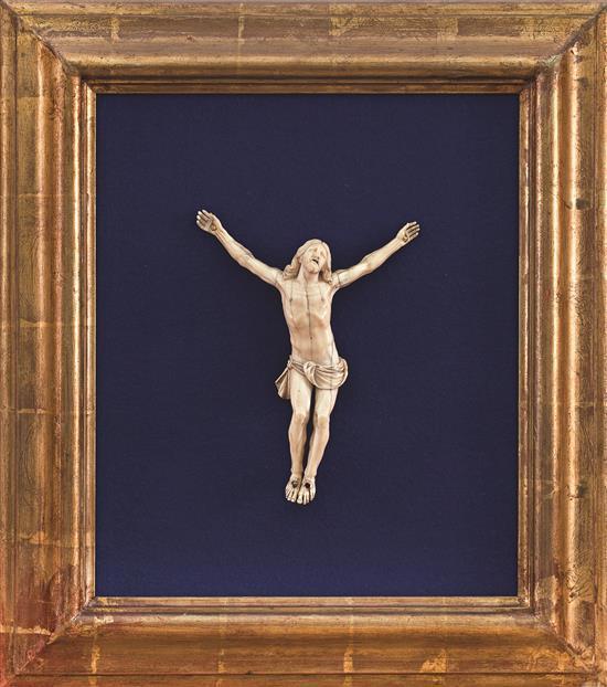 Escuela francesa de Dieppe del siglo XIX Cristo crucificado Escultura en marfil tallado