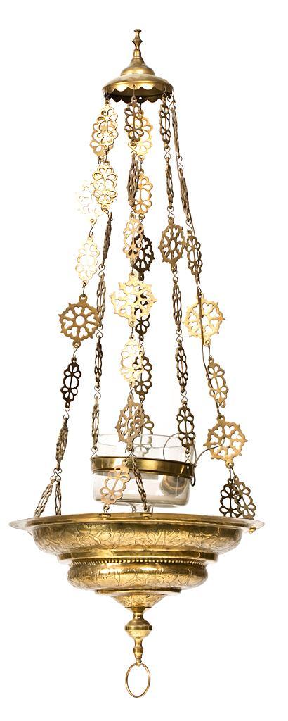 Lámpara de techo votiva de estilo barroco en latón, del siglo XIX