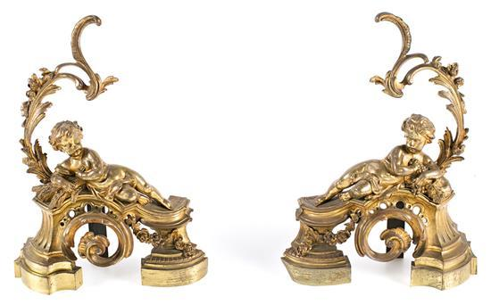Pair of French Napoleon III Louis XV-style andirons in gilt bronze and wrought iron, third quarter of the 19th Century