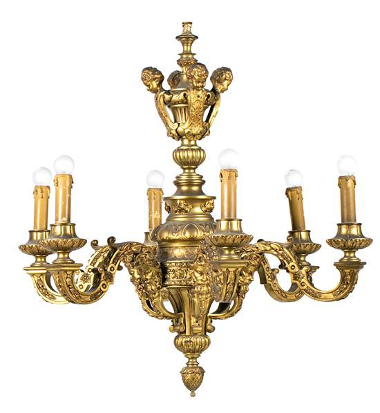 Louis XIV-style gilt-bronze ceiling light, first half of the 20th century