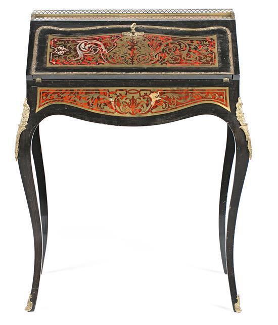 Escritorio secreter Napoleón III en madera ebonizada con marquetería Boulle en carey y latón con aplicaciones en bronce dorado, del...
