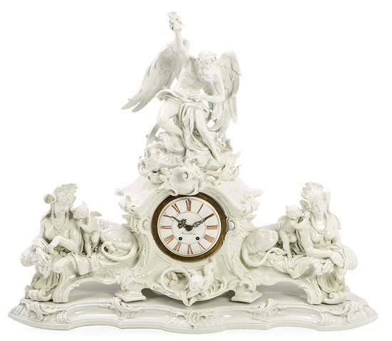Large German porcelain table clock by KPM of Berlin, early 20th century