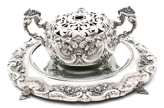 Centro-florero y surtout portugueses en plata, de finales del siglo XIX