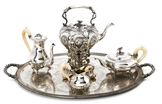 French tea and coffee set in silver-plated metal by Christofle, late 19th century