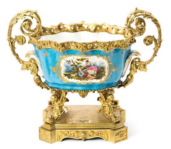 Centro francés estilo Napoleón III en porcelana de Sèvres