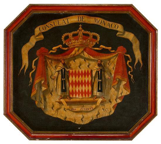 Escuela española, hacia 1930 Escudo de Mónaco Óleo sobre lienzo