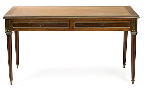 Louis XVI-style mahogany and walnut writing desk, circa 1930