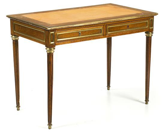 Louis XVI-style mahogany writing desk with gilt-bronze applications, late 19th century