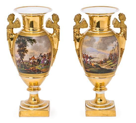 Pair of French Empire-style porcelain vases, 19th century