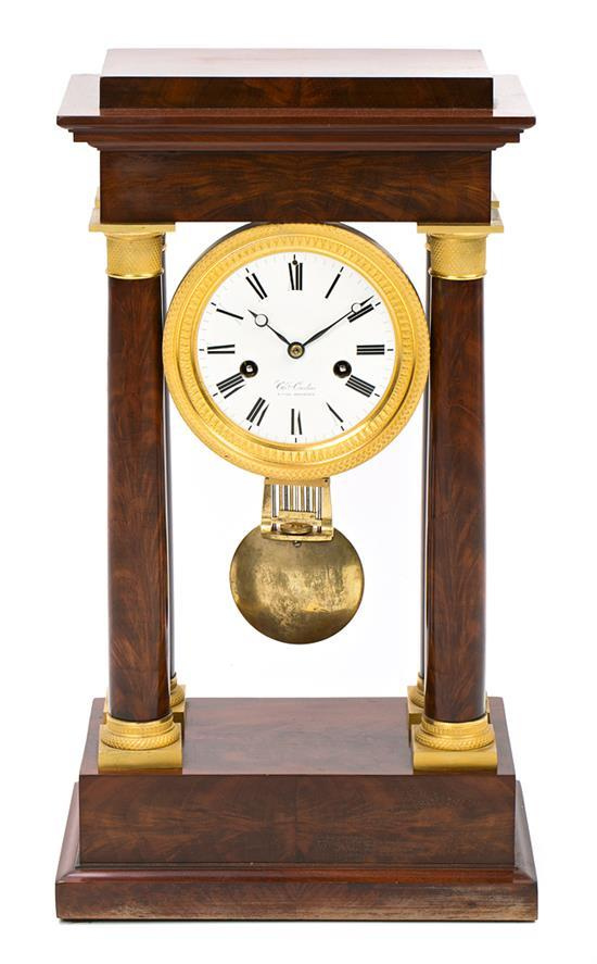 French Empire-style portico clock in mahogany and gilt bronze, late 19th century