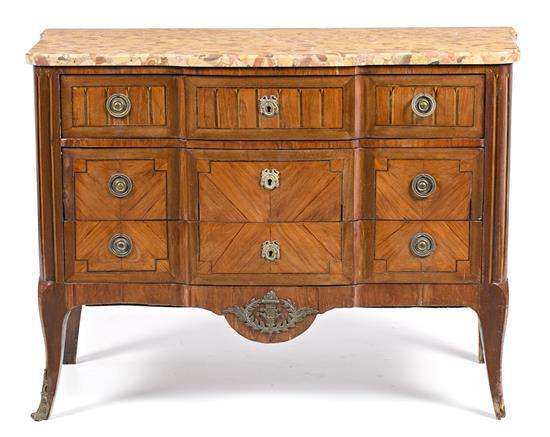 French Transition-style mahogany chest of drawers with fine wood marquetry, second half of the 19th century