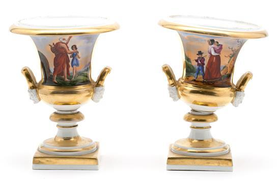 Pair of French Empire-style vases in Vieux Paris porcelain, last third of the 19th Century
