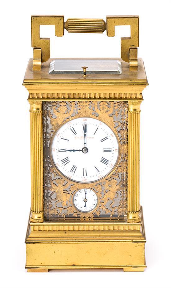 Reloj de sobremesa en bronce dorado, de principios del siglo XX