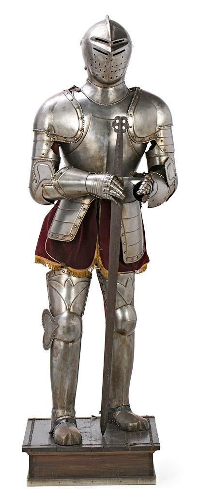 Spanish Renaissance-style suit of armour with sword in steel and velvet, first half of the 20th century