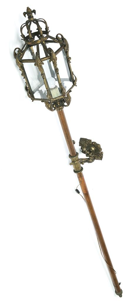 Spanish processional lantern in gilt metal, glass and wood, with bracket for hanging, late 19th-early 20th century