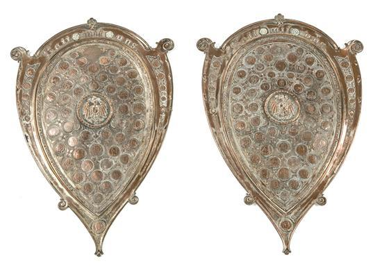 Pair of shields displaying German coins in copper and silver-plated metal, last quarter of the 19th century