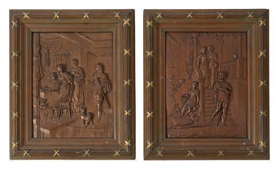 Escuela germánica de finales del siglo XIX Escenas renacentistas Pareja de relieves en madera tallada