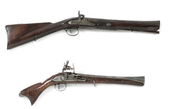 Dos pistolas-trabuco indopersa e inglesa para la Compañía de Indias en madera y acero, hacia 1820-1850