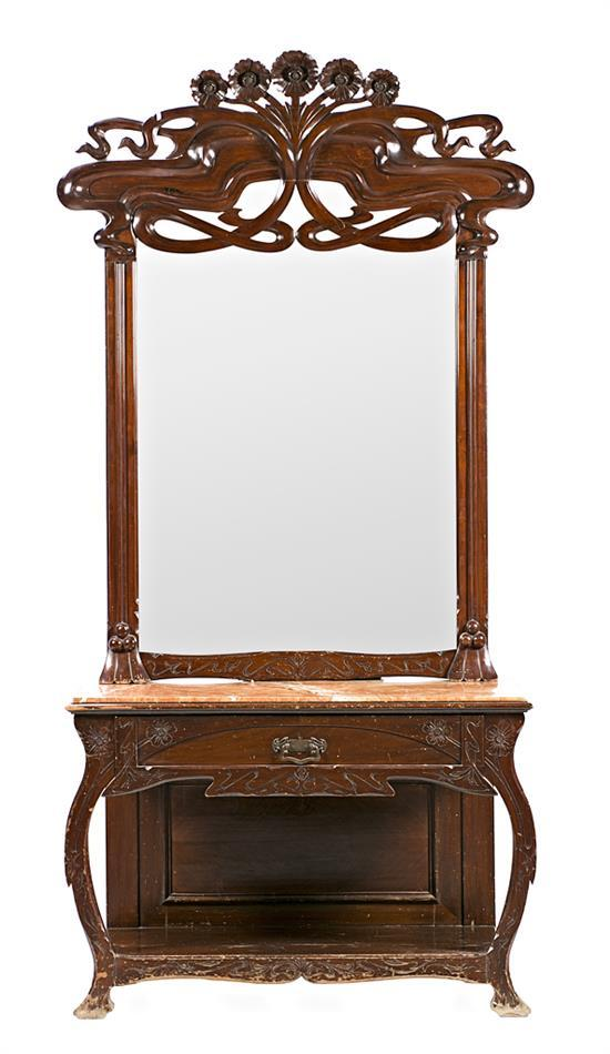Catalan Modernista carved walnut console table with mirror, early 20th century