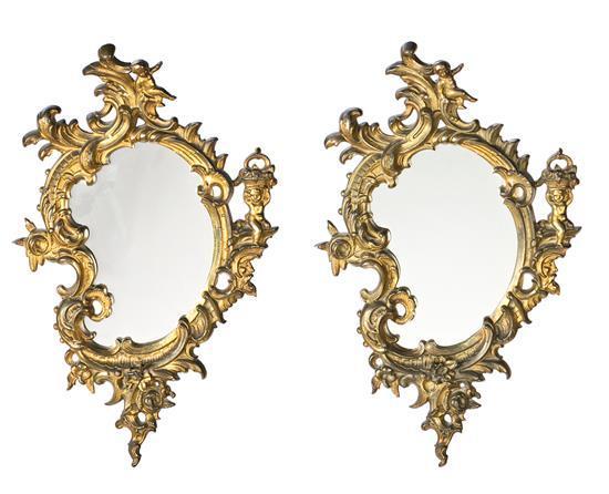 Pareja de cornucopias Art Nouveau estilo Luis XV con marcos en bronce dorado, hacia 1900