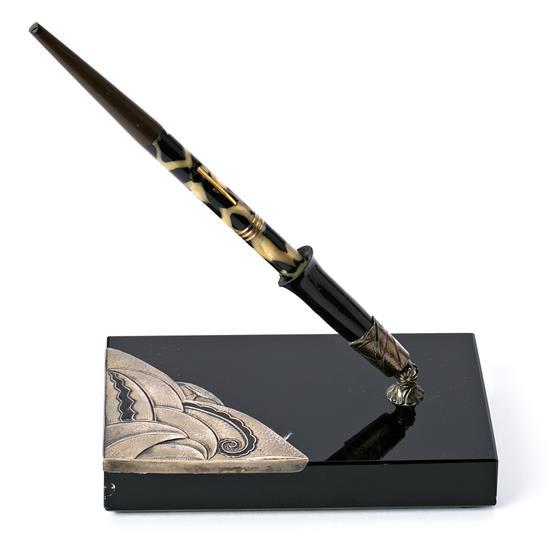 Art Déco pen holder from Barcelona in black glass and mounting in