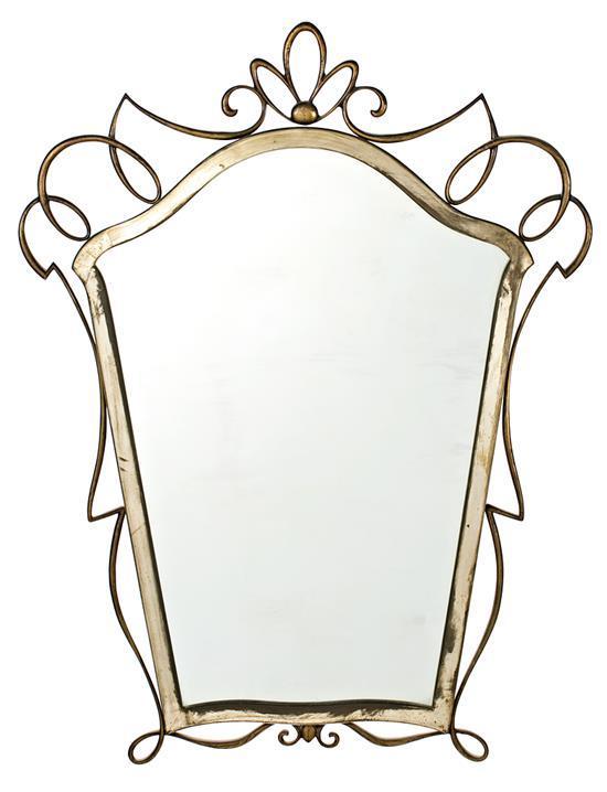 Espejo con marco Art Déco en metal plateado y dorado, hacia 1930