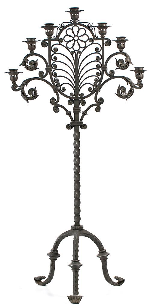 Spanish wrought-iron standing candelabrum-tenebrario, second third of the 20th Century
