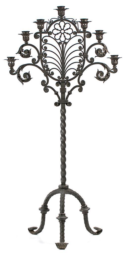 Spanish wrought-iron standing candelabrum-tenebrario, second third of the 20th Century