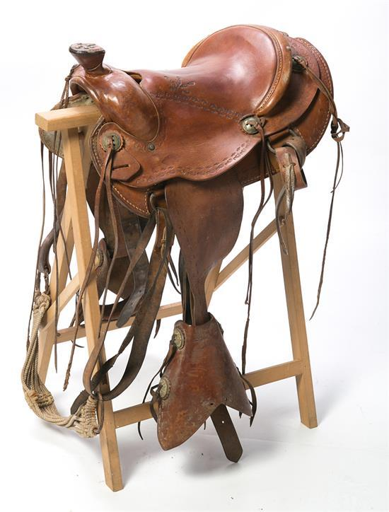 Leather riding saddle, mid 20th century
