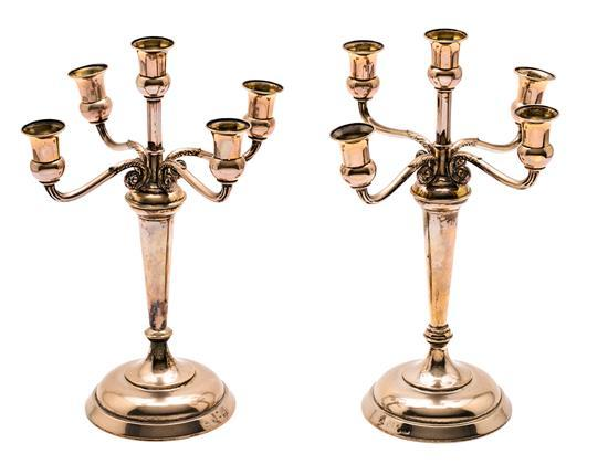 Pair of silver candelabra from Barcelona, first third of the 20th Century