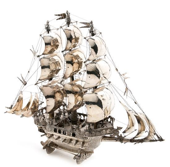 Silver galleon, probably Spanish, mid 20th century