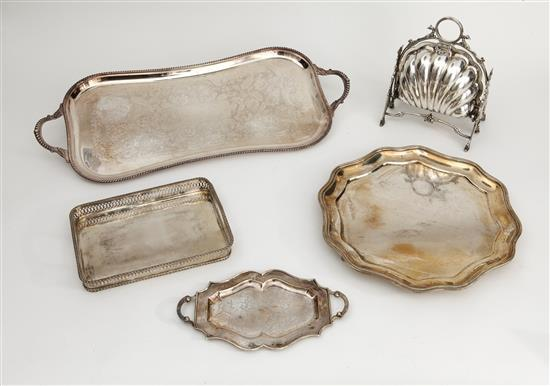 Spanish silver salver and three trays, and an English silver-plate serving tray in the form of a seashell, second third of the 20th Cen