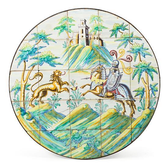 Plafón o sobre de mesa sevillano de azulejos de Mensaque, hacia 1930