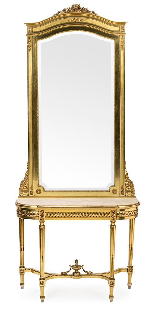 Consola con espejo estilo Luis XVI en madera tallada y dorada, hacia 1915