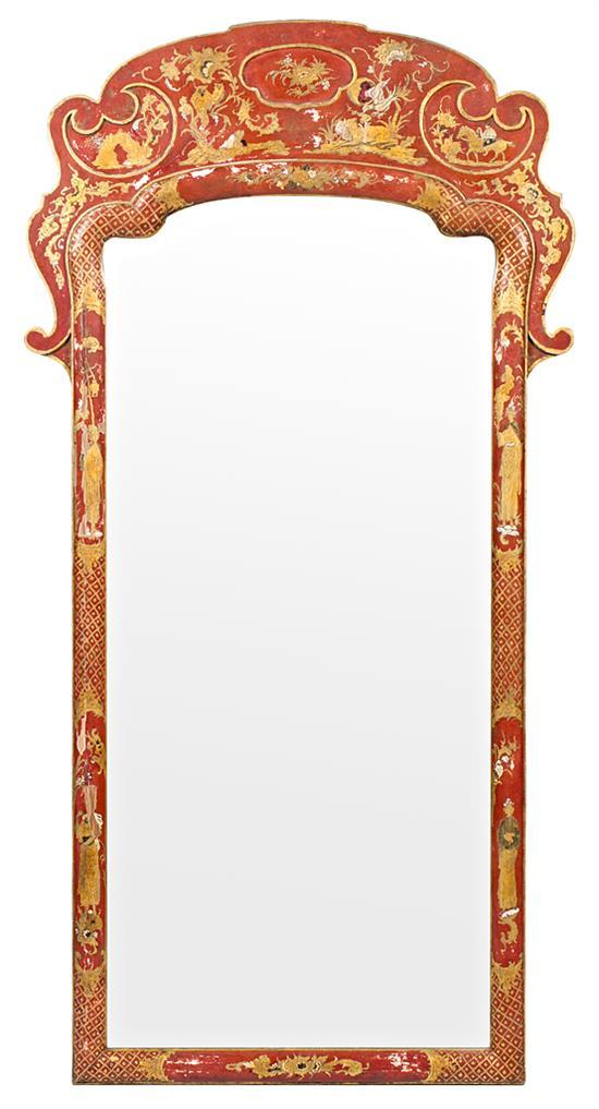 Chinese-style mirror in polychrome wood, probably by Pierre Lottier, second third of the 20th century