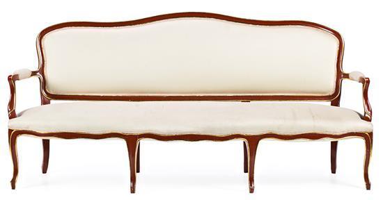 Sofá estilo Luís XV en madera lacada y caoba hacia 1940
