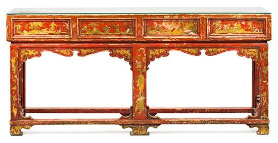 Chinese-style console table in polychrome wood, probably by Pierre Lottier, second third of the 20th centuryR