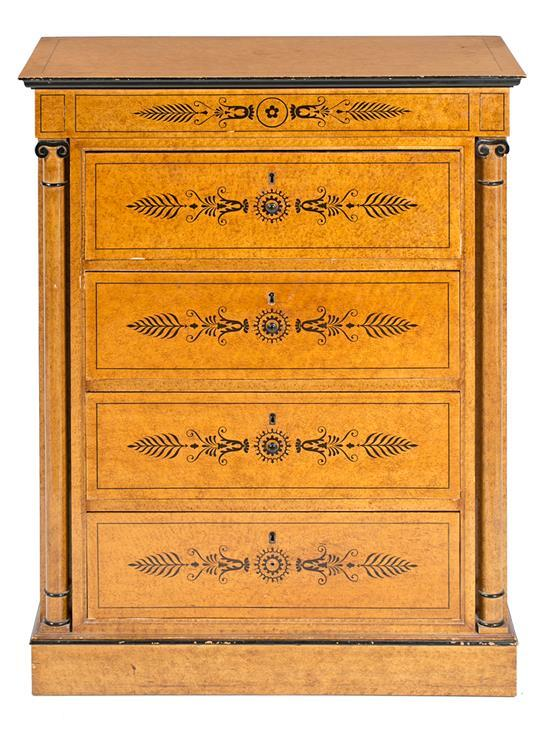 Chest of drawers and mirror in burr maple and ebonized wood by Pierre Lottier, mid 20th century