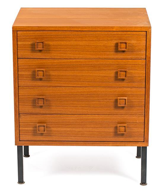 Small French chest of drawers in teak and lacquered metal, circa 1970