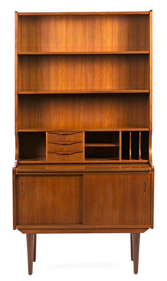 Danish teak bookcase-bureau, circa 1960