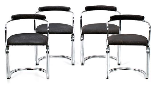 Cuatro sillas españolas en acero cromado y tapicería original en tela, hacia 1970