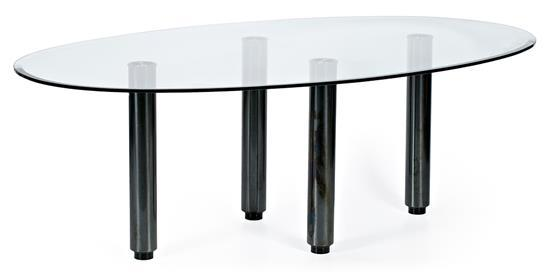 Spanish dining room table in bevelled glass and lacquered steel, circa 1990