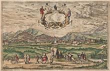 Georg Braun y Frans Hogenberg Colonia 1541 -1622 y Malinas1535 - Colonia 1590 Vista de Granada Aguafuerte y buril iluminado