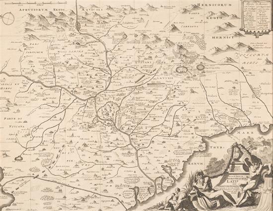 Jan Goeree Middelburg 1670 - Ámsterdam 1731 Mapa de Roma y su región Aguafuerte