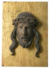 Escuela probablemente valenciana del siglo XV Santa Faz Altorrelieve en madera tallada y policromada