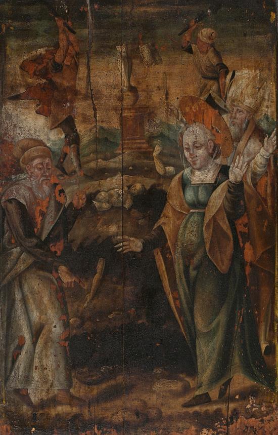 Escuela española de mediados del siglo XVI Una santa, probablemente Santa Catalina de Alejandría, ante un ídolo, y Cristo camino de...