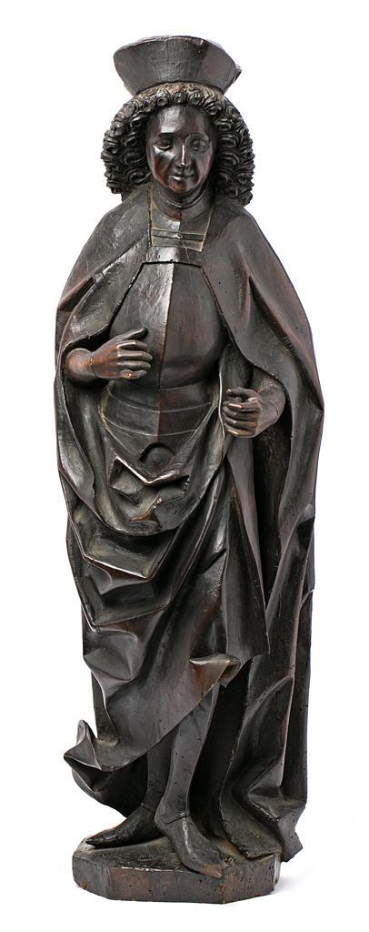 Escuela alemana o flamenca, probablemente hacia 1500 Santo Escultura en madera tallada