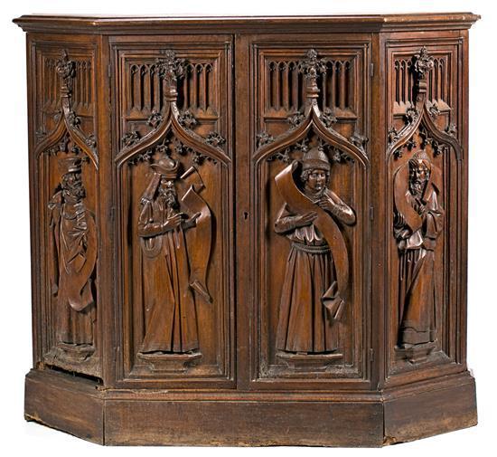 Escuela española, probablemente del último tercio del siglo XV Profetas del Antiguo Testamento Cuatro altorrelieves en madera talla...