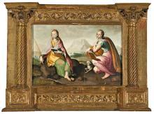 Atribuido a Pablo Scheppers doc. Malinas 1559 - Zaragoza 1577 Santa Engracia y Santa Inés Óleo sobre tabla